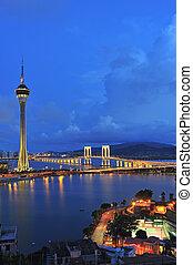 věž, oplzlý podnebí, pod, asia., řeka krajinomalba, slavný, macao, městský, cestování, macau