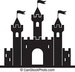 věž, středověký, budova, vektor