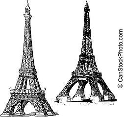 věž, vektor, eiffel