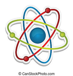 věda, abstraktní, ikona, atom