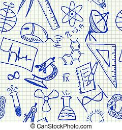 věda, doodles, seamless, model