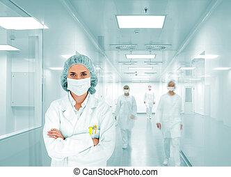 Vědci v moderní nemocnici, skupina doktorů