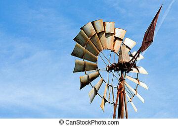 větrný mlýn hospodaření, rezavý, dávný, selský