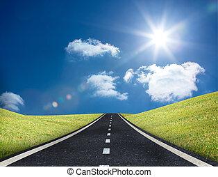 vůdčí, cesta, aut, obzor