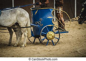 vůz, energický, cirkus, bojechtivý, římský, druh, dřít se, gladiators