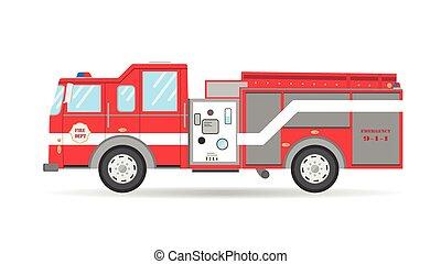 vůz, povoz, pohotovostní, americký, ilustrace, firetruck, vektor, karikatura, byt