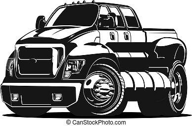 vůz, vektor, karikatura