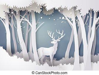 V lese je sníh.