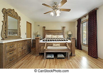V ložnici s dubovým nábytkem