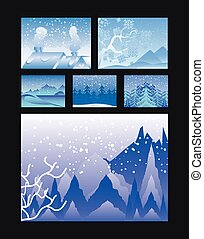 V zimě se střídají různé scény s horami z hor, na černošských stromech
