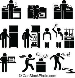 vaření, mytí, voják, kuchyně