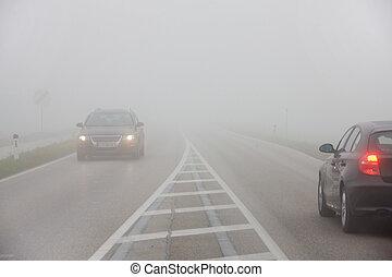 vagón, mlha, cesta