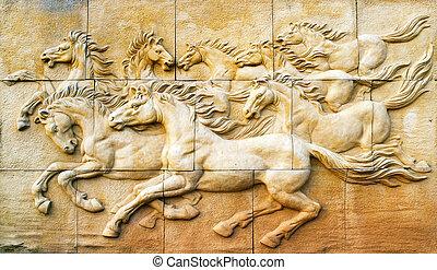 val, kámen, skulptura, kůň