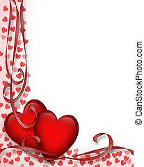 Valentýnská hranice červených srdcí