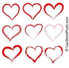 Valentýnská vektorka červené srdce, srdeční valentýna
