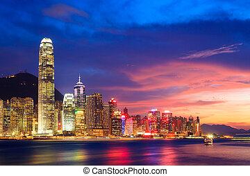 večer, hong, čína, městská silueta, kong