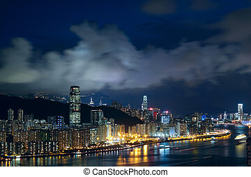 večer, hong, moderní, město, asie, kong