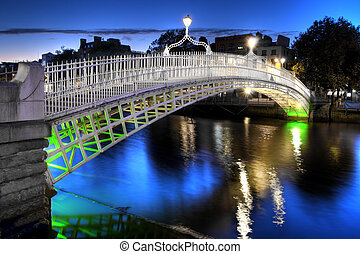 večer, irsko, ha'penny, dublin, můstek