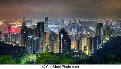 večer, městská silueta, kong, hong, vrchol, viktorie