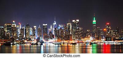 večer, městská silueta, panoráma, město, york, čerstvý