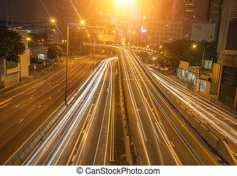 večer, moderní, kong, město, hong