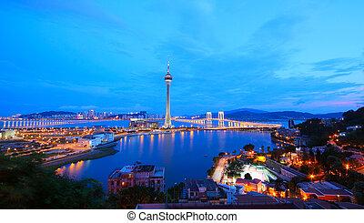 večer, věž, pohybovat se, řeka, slavný, macao, china., cityscape