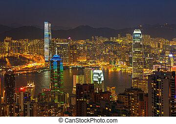 večer, vrchol, hongkong, viktorie