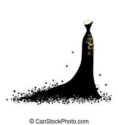 Večerní šaty černé na obětech