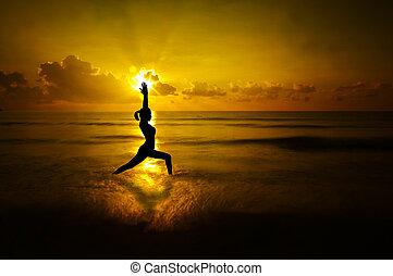 ve volné přírodě, jóga, manželka, silueta