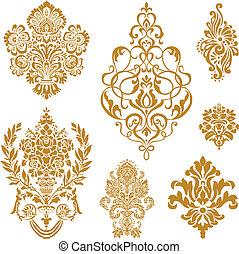 Vector Golden damask ornament