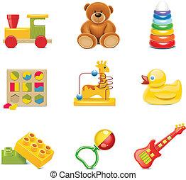 Vector toy ikons. Dětské hračky