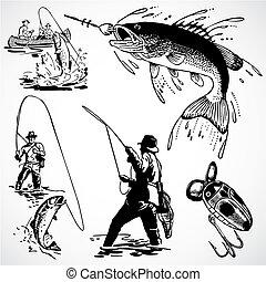 Vectorská rybářská grafika