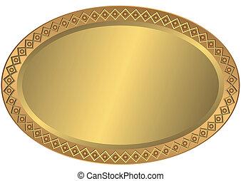 vejčitý, zlatý, kov, bronzovat, deska