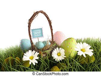 vejce, velikonoční koš, pastvina