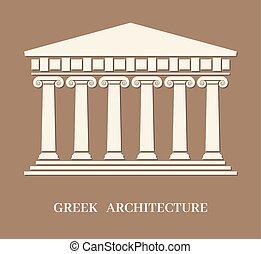 vektor, řečtina, starobylý, architektura, sloupec