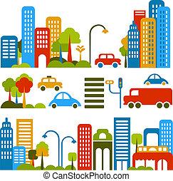 vektor, šikovný, ulice, ilustrace, město