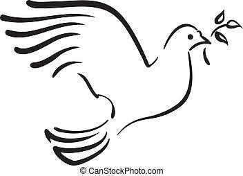 Vektor bílá holubice s větví