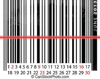 vektor, barcode, červen, ilustrace, kalendář, 2013, design.