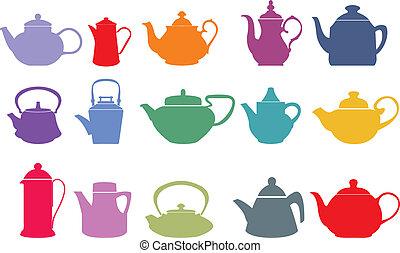 vektor, dát, patnáct, teapots, barvitý