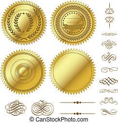 vektor, dát, zlatý, pečeťi