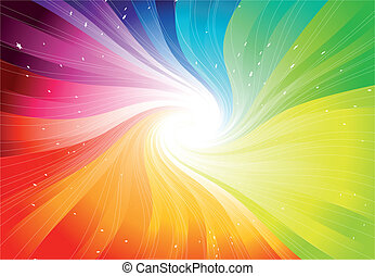 vektor, duha, starburst, barevný