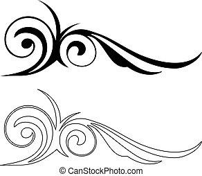 vektor, elegance, elements., ilustrace, dva