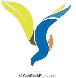 vektor, emblém, znak, prasknout ptáci