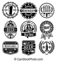 vektor, emblems., pivo, dát, opatřit nápisem