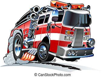 vektor, firetruck, karikatura