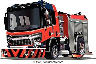 vektor, firetruck, osamocený, karikatura, běloba grafické pozadí