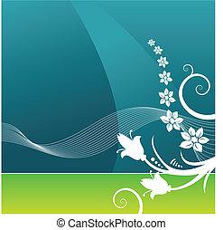 vektor, grafické pozadí, grunge, květinový