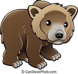 vektor, grizzly, opálit se doléhat, šikovný, ilustrace