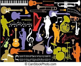 vektor, hudba, elements.