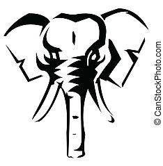vektor, ilustrace, slon